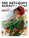 """Fall Leaves,"" Saturday Evening Post Cover, November 5, 1927 Giclee Print by William Haskell Coffin"