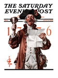 &quot;Town Crier,&quot; Saturday Evening Post Cover, July 4, 1925 Giclee Print by J.C. Leyendecker