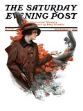 """Woman Hunter Feeding Squirrel,"" Saturday Evening Post Cover, November 3, 1923 Giclee Print by Charles A. MacLellan"