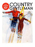 """Couple Downhill Skiing,"" Country Gentleman Cover, January 1, 1937 Giclee Print by R.J. Cavaliere"