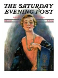 """Woman Wearing Beaded Necklace,"" Saturday Evening Post Cover, February 26, 1927 Giclee Print by William Haskell Coffin"