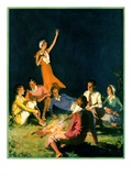 """Couples by Bonfire,""September 1, 1931 Giclee Print by Frank Bensing"