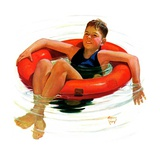 """Boy in Inner Tube,""August 1, 1936 Giclee Print by Eugene Iverd"