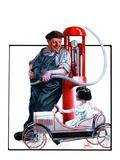 """Pedal Car at Gas Pump,""June 9, 1923 Giclee Print by F. Lowenheim"