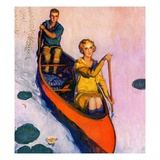 """Couple Paddling Caone,""August 1, 1929 Giclee Print by McClelland Barclay"