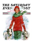 &quot;Lady Walking Dogs in Snow,&quot; Saturday Evening Post Cover, December 11, 1926 Giclee Print by William Haskell Coffin
