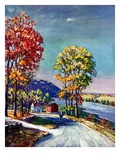 """Walking on Country Road,""October 1, 1939 Giclee Print by Walter Baum"