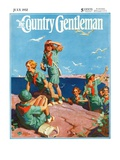 """""""Girl Scouts at Sea Shore,"""" Country Gentleman Cover, July 1, 1932 Impression giclée par Frank Bensing"""