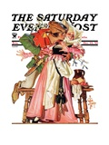 """""""Stealing a Christmas Kiss,"""" Saturday Evening Post Cover, December 23, 1933 Giclee Print by J.C. Leyendecker"""