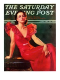 """Low-Cut Red Dress,"" Saturday Evening Post Cover, January 20, 1934 Giclee Print by Tom Webb"