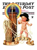 """New Year Tickertape,"" Saturday Evening Post Cover, December 30, 1933 Giclee Print by Joseph Christian Leyendecker"