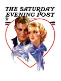"""Couple in Heart,"" Saturday Evening Post Cover, February 17, 1934 Giclee Print by Bradshaw Crandall"