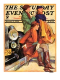 &quot;Women in Riding Habits,&quot; Saturday Evening Post Cover, January 6, 1934 Giclee Print by John LaGatta