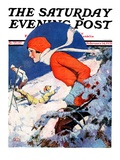 """Woman Skier,"" Saturday Evening Post Cover, February 14, 1931 Giclee Print by James C. McKell"