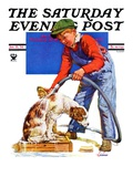 &quot;Dog Bath,&quot; Saturday Evening Post Cover, January 13, 1934 Giclee Print by J.F. Kernan