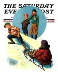"""Uphill Sledding,"" Saturday Evening Post Cover, March 7, 1931 Giclee Print by Alan Foster"