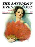"""Red Feathered Fan,"" Saturday Evening Post Cover, February 28, 1931 Giclee Print by William Haskell Coffin"