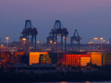 Container are Being Loaded in the Harbor of Hamburg Photographic Print by Lorenz Timm