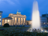 View of the Pariser Platz Square with the Brandenburg Gate at Dusk Photographic Print
