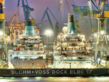 Two Cruise Ships in the Dry Dock of Blohm and Voss in Hamburg Photographic Print
