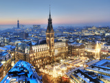 Town Hall and Christmas Market in Hamburg Photographic Print by Christian Ohde