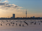 People Walk on the Frozen Alster Photographic Print by Lorenz Timm