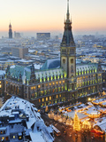 Town Hall and Christmas Market in Hamburg Photographic Print