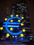 Symbol of the Euro Currency in Front of the European Central Bank in Frankfurt Main Photographic Print