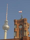 Tower of the Red Town Hall and the Berlin Television Tower Photographic Print