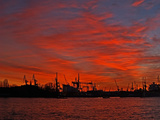 Harbour Silhouette in Hamburg Photographic Print