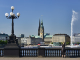 Lake Alster and Town Hall in Hamburg Photographic Print by Christian Ohde