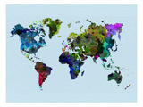World Watercolor Map 3 Print by  NaxArt