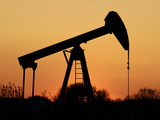 Oil Pumping Unit at Sunset Photographic Print by Christian Ohde