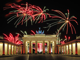 Brandenburg Gate with Fireworks Photographic Print