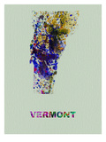 Vermont Color Splatter Map Prints by  NaxArt