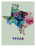 Texas Color Splatter Map Prints by  NaxArt