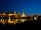 Dresden at Night Elbe River View Photographic Print by Val Thoermer