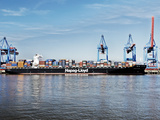 Container Vessel at Container Terminal Altenwerder Photographic Print