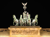 Berlin Brandenburg Gate by Night with the Quadriga Sculpture Photographic Print by  Synchropics