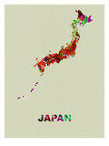 Japan Color Splatter Map Prints by  NaxArt