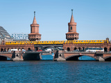 Berlin Oberbaumbruecke Bridge with Passing Subway Train Photographic Print by Synchropics