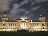 German Reichstag Building at Night Photographic Print by  Synchropics