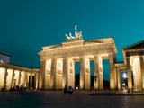 Berlin Brandenburg Gate at Night with Blue Sky Photographic Print by Synchropics