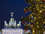 Berlin Brandenburg Gate with Christmas Tree at Night Photographic Print by Synchropics