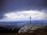 Summit Cross on the Lochenstein with Up Pulling Tempest Photographic Print by Joachim Opelka