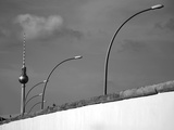 Berlin Wall with East German Street Lights and Tv-Tower Photographic Print by  Synchropics