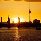 Berlin Oberbaumbruecke Bridge with Passing Subway Train at Sunset Photographic Print by Synchropics
