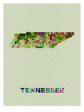 Tennessee Color Splatter Map Prints by  NaxArt