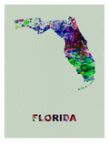 Florida Color Splatter Map Print by  NaxArt