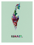 Israel Color Splatter Map Print by  NaxArt